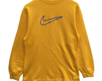 Nike big swoosh logo vintage 90 s yellow colour nike sweatshirt hoodie  jacket shirt pullover jumper size L kid 1b7d8dcba9c0