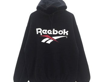 a69a6056c9db Reebok hoodie sweatshirt big logo Made in USA vintage 90 s 80 s black  colour Reebok hoodie pullover jumper hiphop swagger streetwear size XL