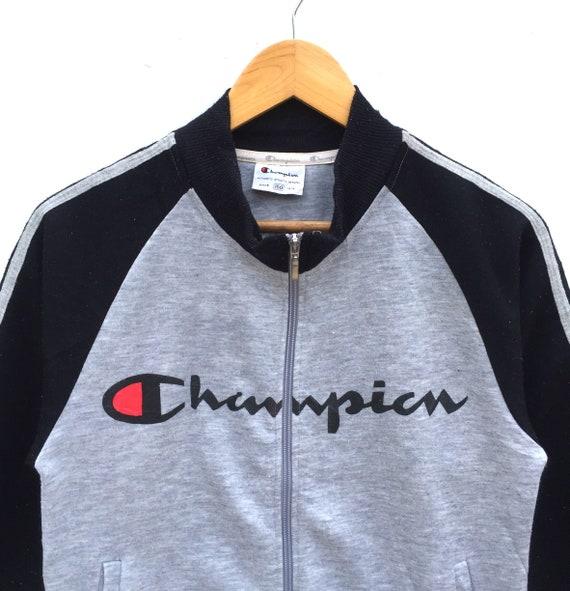ec3a73b26320 Champion Sweatshirt Sweater Big Logo Spell Out Stripe Sweater   Etsy