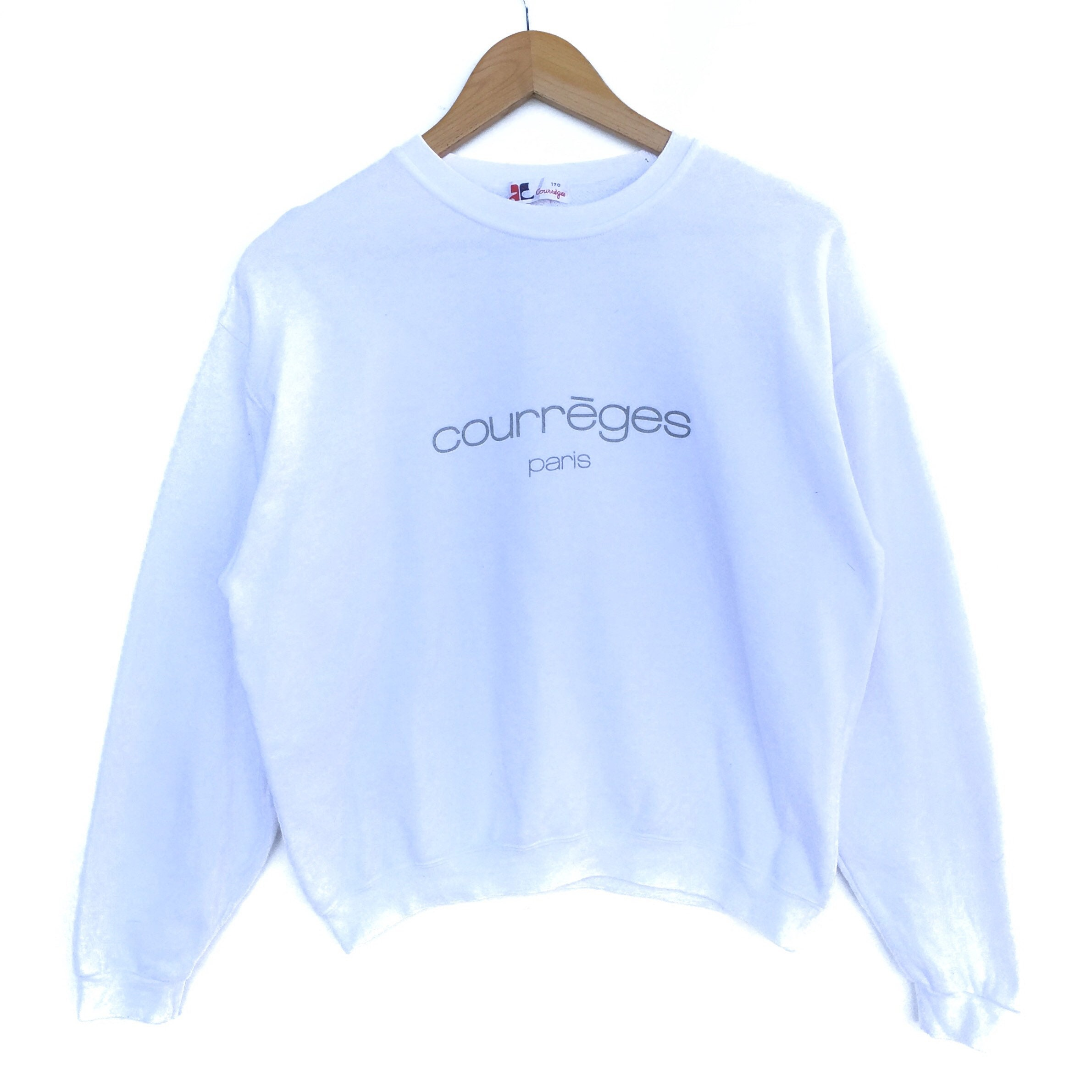 first look best loved online retailer Courreges Sweatshirt Big Logo Big Logo 170A Size Sweat Sport Sweater Jumper  Pullover Shirt Jacket Vintage 90's white colour