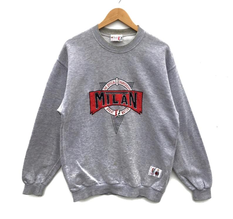 buy online 0b079 82fff Ac milan football club sweatshirt embroidery big logo vintage 90's 80's  milan sweatshirt sweater hoodie jumper pullover jacket medium size