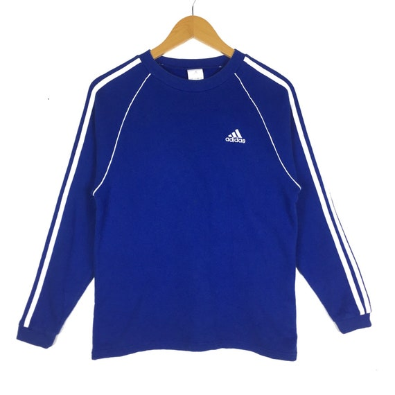 Adidas Sweatshirt small logo 3 stripes basic logo Vintage 90s blue Colour Sportwear HipHop Swag Lolife Pullover Jumper Sweater size 160