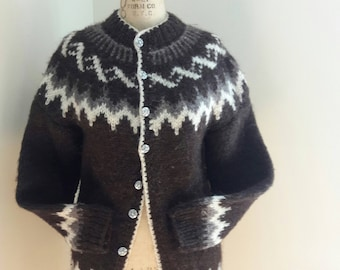 RARE VINTAGE ICELANDIC Hand Knit Cardigan Nordic Ski Chic Fair Isle Holiday