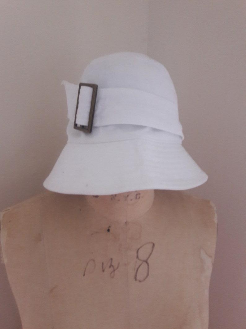 MOD SUMMER CLOCHE Vintage Designer Cotton Twill Sun Hat Bronze Buckle by Lola New York