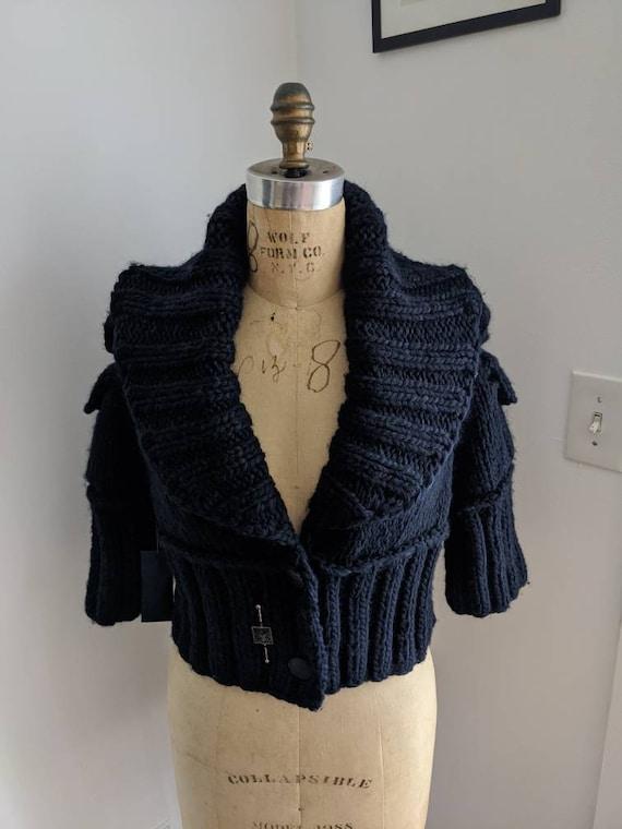 ANNE KLEIN HANDKNIT Vintage 90's Cropped Navy Wool