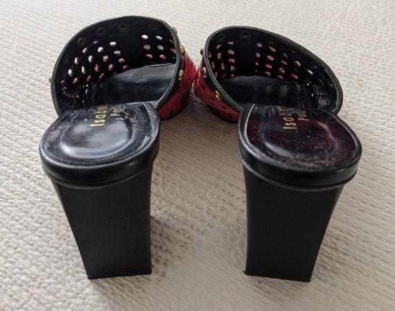 TRENDY RED PEEPTOES Vintage Leather Block Heel Mu… - image 5