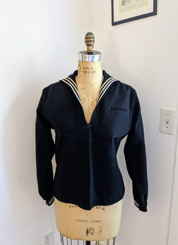 VINTAGE 60s NAVY DRESS Uniform, Wool Sailor Top, N
