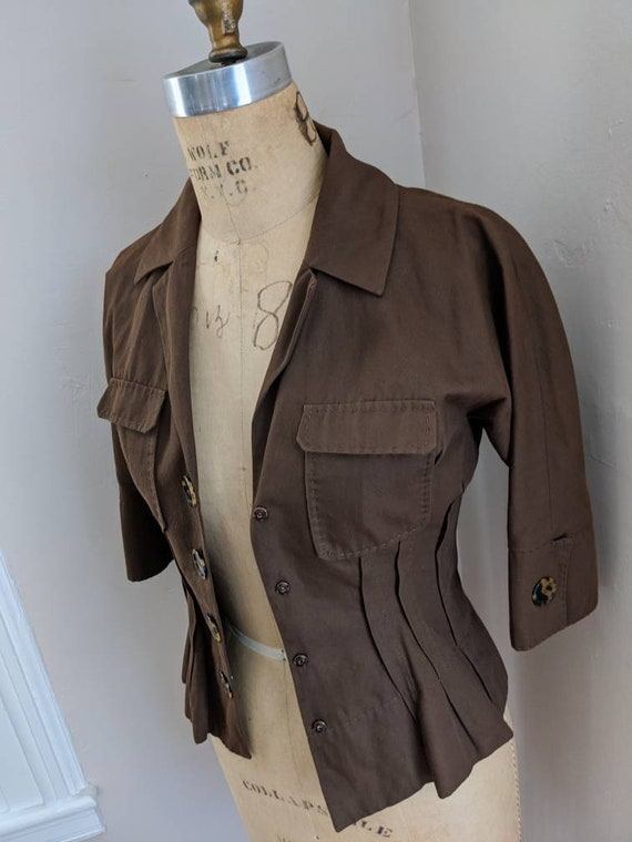 VINTAGE 90s ALBERTA FERRETTI Brown Summer Cotton W
