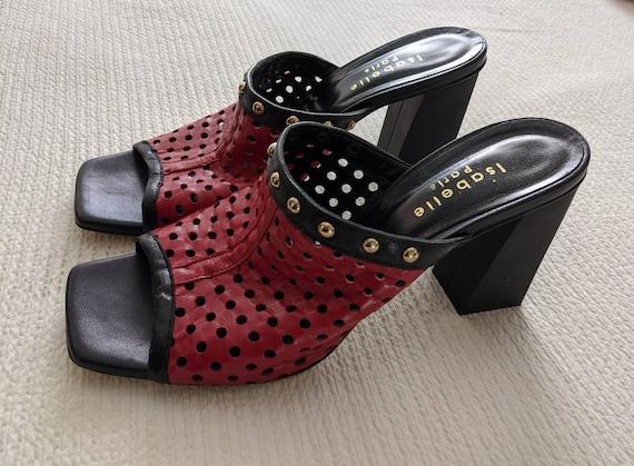 TRENDY RED PEEPTOES Vintage Leather Block Heel Mu… - image 4