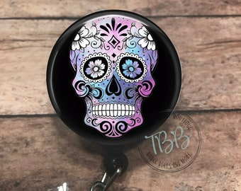 Purple Sugar Skull Badge Reel Holder