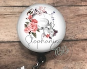 Personalized flower skull - badge reel - lanyard - stethoscope ID tag - retractable badge reel - badge clip - badge holder