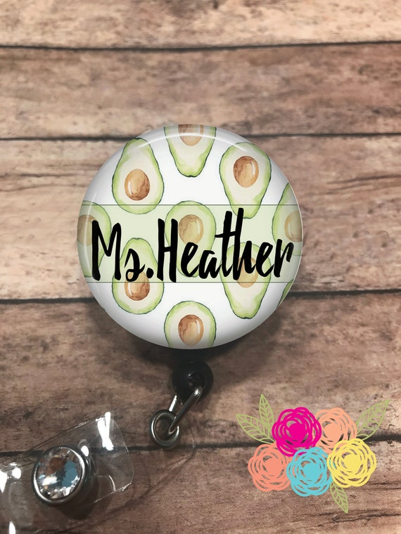 Planner Clip Paper Clip ID Badge Reel Lanyard Heart Pit Avocado Retractable Badge Stethoscope ID Tag