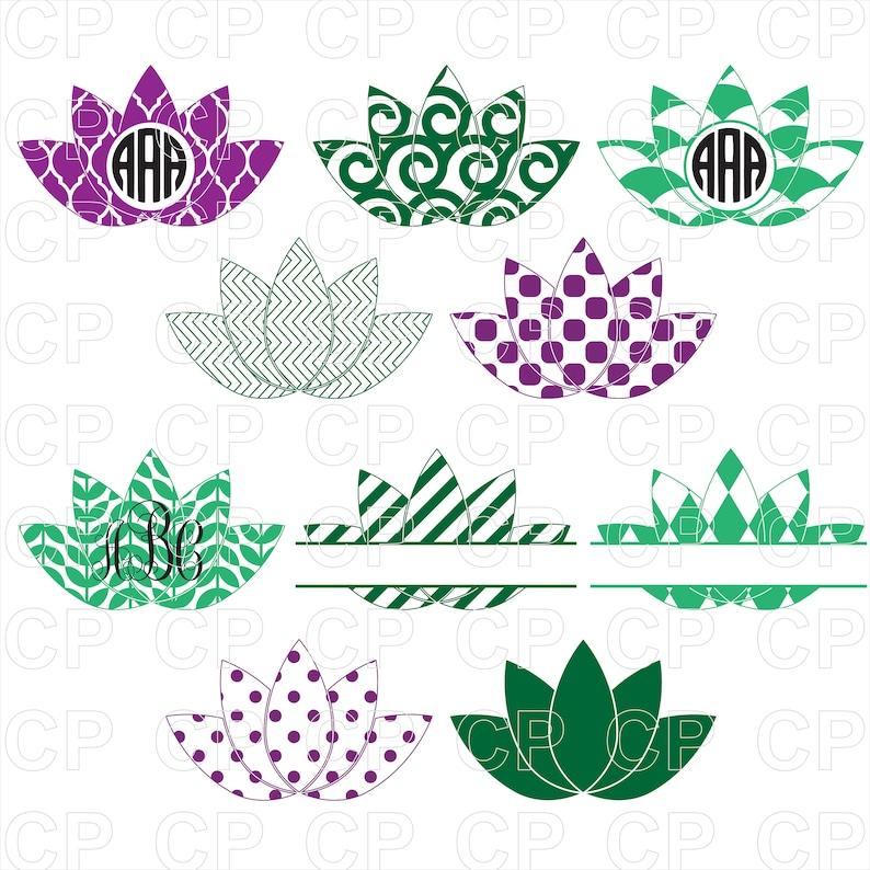 Lotus Monogram Bundle Svg Lotus Clipart Bundle Svg Lotus Etsy