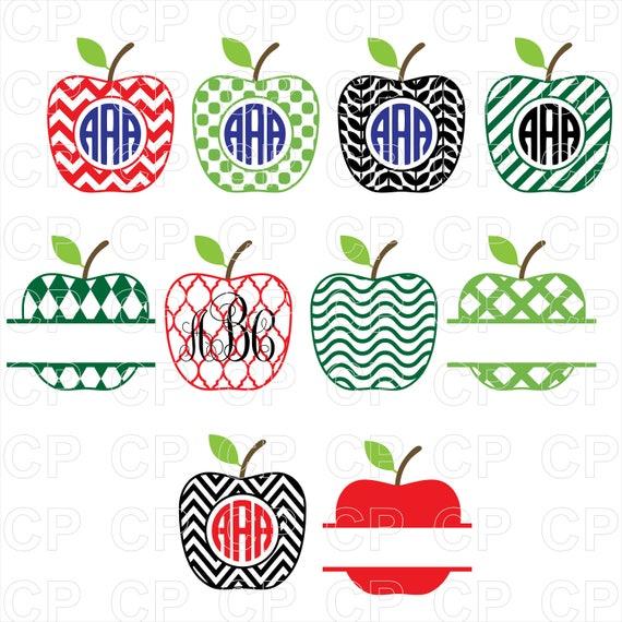 Apple Monogram Bundle Svg Back To School Svg Apple Monogram Etsy