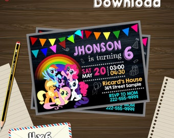 My Little Pony Invitation Birthday PDF Editable Card Instant Download