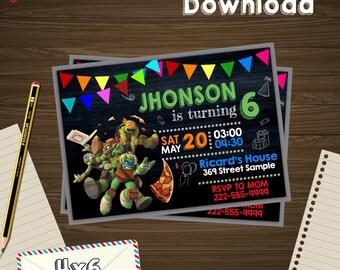 Ninja turtles invitation, ninja turtles birthday, ninja turtles PDF, ninja turtles editable, ninja turtles instant, ninja turtles download