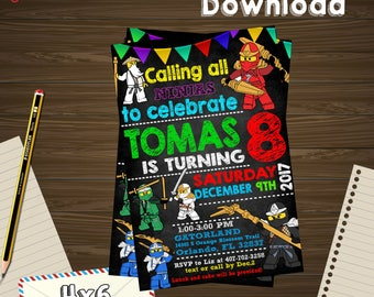 Ninja invitation, Ninja birthday, Ninjago PDF, Ninja editable, Ninja party, Ninja edit, Ninja