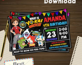 Yo kai invitation, Yo kai birthday, Yo kai PDF, Yo kai editable, Yo kai download, Yo kai edit, Yo kai party, Yo kai birthday party, Yo kai