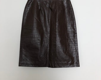 17e48c468c Vintage Brown Leather Skirt