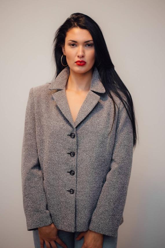 Vintage Grey Houndstooth Tweed Blazer