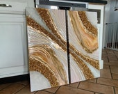 Large Diptych Gold Resin Geode -Double panel