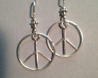 peace symbol earrings sterling silver