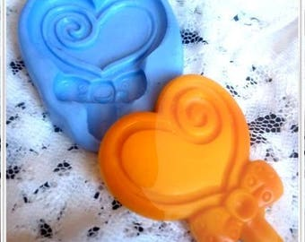 Large 50mm heart lollipop silicone mold