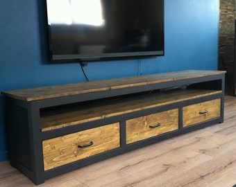 TV stand in wood and metal