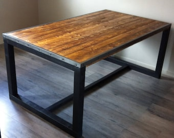 Wooden industrial style dining table
