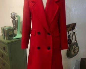 Vintage Red Wool Overcoat