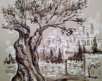 Old City Jerusalem view.judaica drawind,judaica wall art,graphical work