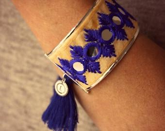 Silver Women's Bracelet, Cuff Bracelet, Pompons Bracelet, Boho Bracelet, Boho Chic Bracelet, Blue Pompons Bracelet, Indian Bracelet