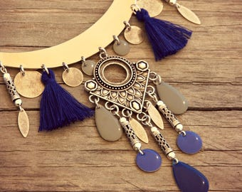 Bib Necklace, Silver Necklace, Ethnic Necklace, Blue Necklace, Tassel Necklace, Boho Necklace, Hippie Necklace, Bohemian Necklace, Gift