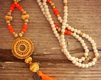 Wood Beads Necklace, Tassel Necklace, Beads Necklace, Orange Tassel, Bohemian Necklace, Boho Necklace, Gypsy Necklace, Ibiza Necklace, Gift