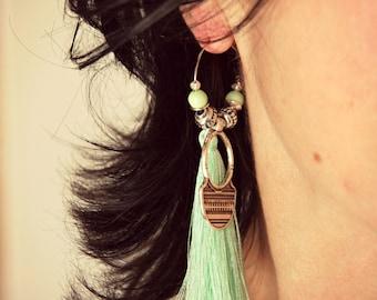 Ethnic Earrings, Tribal Earrings, Tassels Earrings, Indian Earrings, Boho Silver Hoops, Tribal Hoops, Tassels Hoops, Boho Earrings, Gift