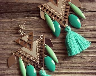 Earrings tassels, ethnic earrings, Silver earrings Bohemian earrings Turquoise earrings