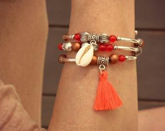 Pompon bracelet, Charm bracelet, Silver bracelet, Women's bracelet, Cauri bracelet, Shell bracelet, Orange bracelet, Pompon bracelet