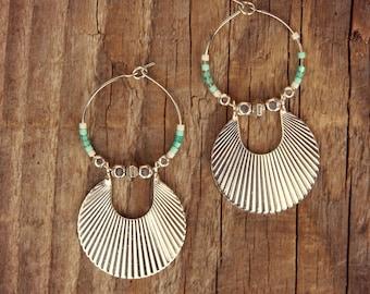 Ethnic Earrings, Silver Earrings, Drop Earrings, Fan Earrings, Boho Silver Hoops, Art Deco Earrings, Art Deco Hoops, Silver Earrings, Gift