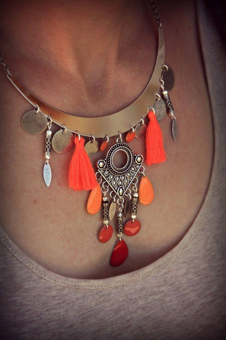 Bib Necklace Tribal Necklace Hippie Necklace Tassel Necklace Boho Necklace Silver Necklace Ethnic Necklace Bohemian Necklace