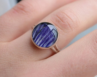 Crocus flower ring,Resin ring,Handmade ring,Botanical,Greenery,Greenery shop,Purple ring