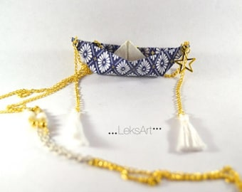 Origami boat Itsukushima 厳島 necklace