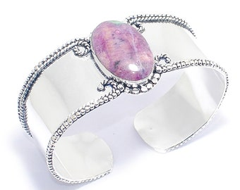 Free Shipping Excelllent !!! Natural Ruby-Zoisite Gemstone 925 SilverJewelry Cuff-Bracelet-7''Adjustable