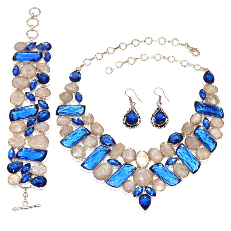 Gorgeous !! Natural Rainbow Moonstone /& Facited Tanzanite Quartz Gemstone Handmade Ethnic Silver Necklaces Bracelet Earring Set FNEB-01