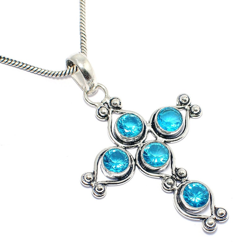 Awesome !! Swiss Blue Quartz 925 Silver Jewelry Cross Necklace 18/'/'