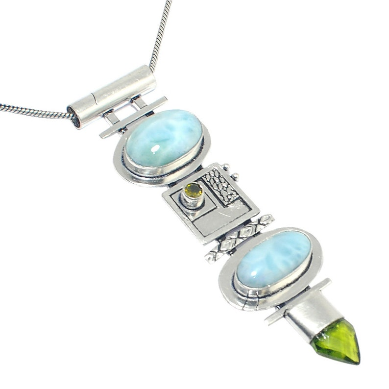Awesome !! Natural AAA+Carbbian Larimar 925 Silver Jewelry Pendant Necklace 18/'/'