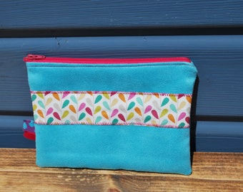 Pouch medicine or papers in turquoise and cotton suede colored leaves