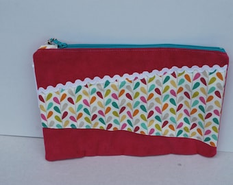 Pouch medicine or papers in fuchsia pink and cotton suede colored leaves