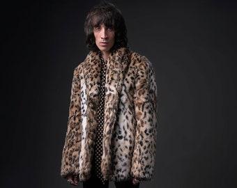 d59015785605 Mens Libertine Faux Fur Leopard Print Cropped Coat