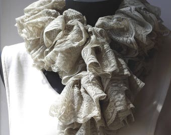 Light grey crocheted lace ruffle scarf, it is about 120 cm.