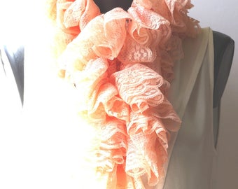 Crocheted pale pink lace ruffle scarf, it is about 120 cm.